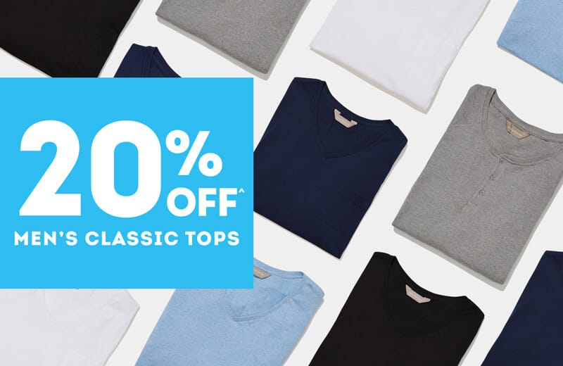 20% Off Men's Classic Tops^