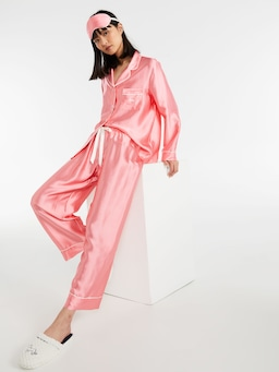 100% Silk Posh Rose Pj Set With Eye Mask