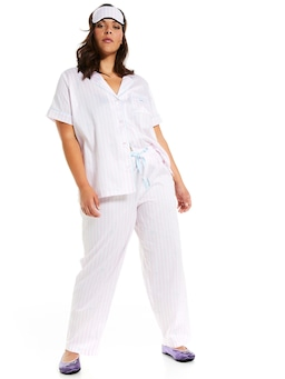 P.A. Plus Pink Stripe Pj Set With Eyemask