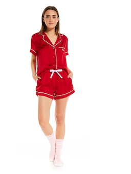 Red Chic Satin Pj Set