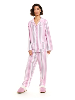 Pink Bedroom Stripe Bamboo Flannelette Pj Set