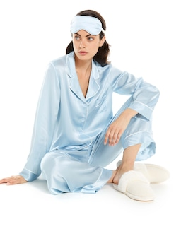 Ice Blue Silk Pj Set With Eye Mask