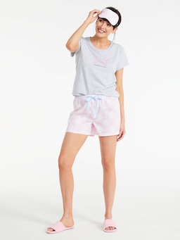 Pink Spot Mid Short With Eye Mask