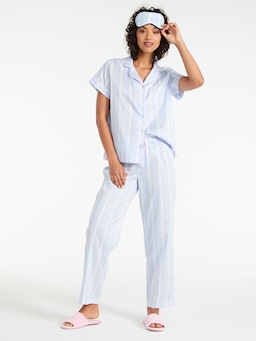 Angie Stripe Pj Set With Eye Mask