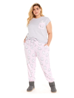 P.A Plus Bunny Bamboo Flannelette Roll Up Pj Pant