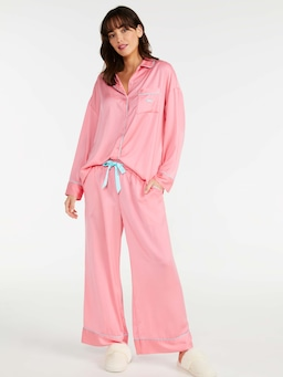 Flamingo Pink Chic Satin Long Pj Set