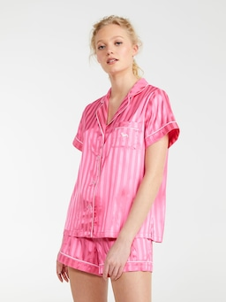 Rose Stripe Chic Satin Pj Set