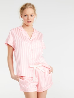 Pink Lemonade Stripe Chic Satin Pj Set
