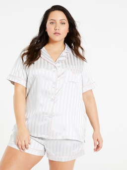 P.A. Plus Silver Stripe Chic Satin Pj Set