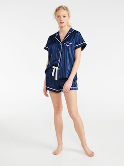 Navy Stripe Chic Satin Pj Set