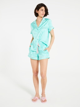 Aqua Chic Satin Pj Set