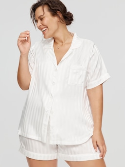 P.A. Plus Bridal Stripe Chic Satin Pj Set