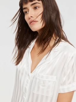 Bridal Stripe Chic Satin Pj Set