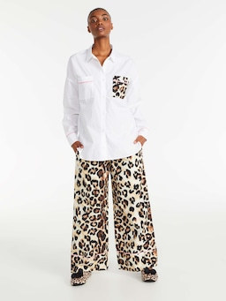 Leopard Pocket Long Sleeve Shirt