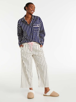 Cream Stripe Ankle Pj Pant