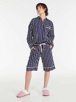 Navy Stripe Long Short