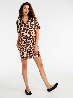 Leopard Plush Short Pj Set