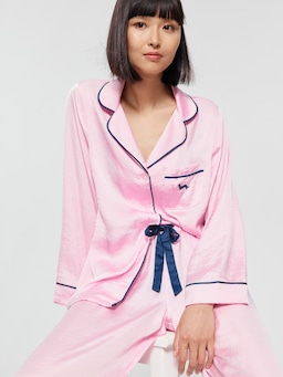 Long Pink Chic Satin Pj Set