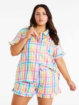 P.A. Plus Rainbow Gingham Shortie Pj Set