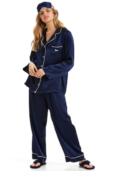 Navy Luxe Silk Pj Set With Eye Mask