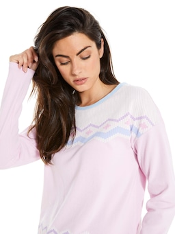 Pink Fairisle Pointelle Top