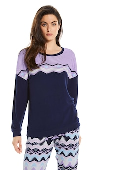 Fair Isle Long Sleeve Fuzzy Sweater