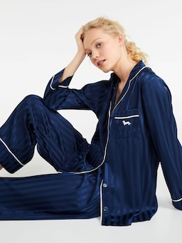 Long Navy Stripe Chic Satin Pj Set
