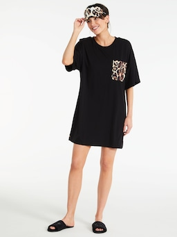 Leopard Roll Up Sleeve Sleep Tee