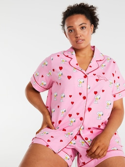 P.A. Plus Snoopy Heart Shortie Pj Set