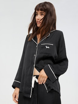 Long Black Chic Satin Pj Set