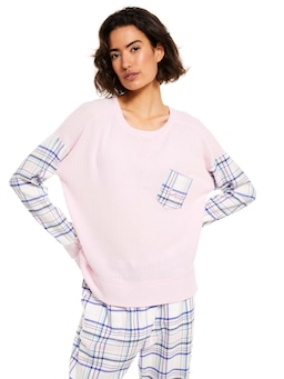 Check Sleeve Waffle Sweater