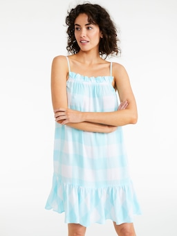 Blue Gingham Check Frill Hem Nightie