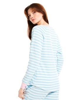Blue Stripe Waffle Long Sleeve Top