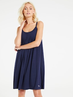Navy Marle Shelf Bra Pleated Nightie
