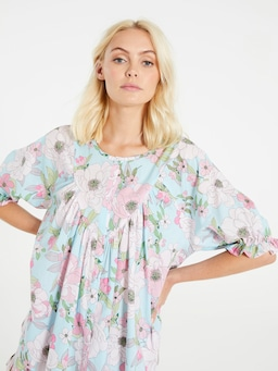 70'S Floral Frill Top