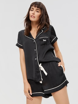 Black Chic Satin Pj Set