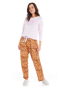 Hello Deer Drop Crotch Pj Pant