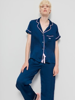 Short Sleeve Navy Chic Satin Pj Set