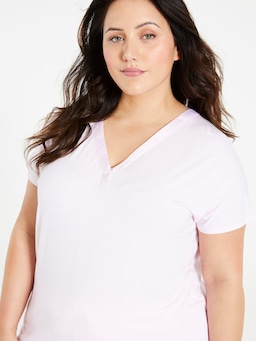 P.A. Plus Pink Bamboo Satin Trim Top
