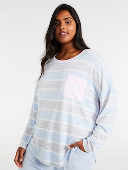 P.A. Plus Fuzzy Stripe Long Sleeve Top