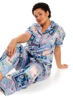 P.A. Plus Floral Tiles Short Sleeve Satin Pj Set