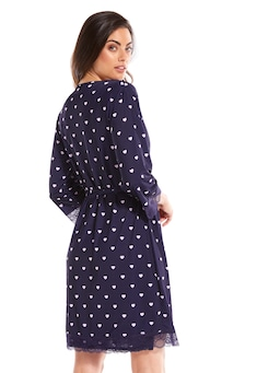Navy Love Heart Slinky Gown