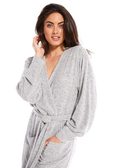 Grey Fuzzy Knit Gown