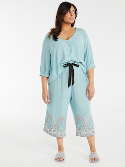 P.A. Plus Teal Wallpaper Culotte Pj Pant