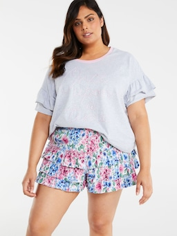 P.A. Plus Roses Ruffle Short