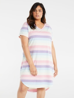 P.A. Plus Rainbow Marle Stripe Sleep Tee