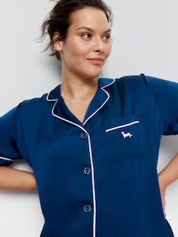 P.A. Plus Navy Chic Satin Nightshirt