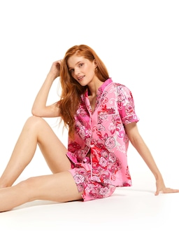 Graphic Floral Shortie Pj Set