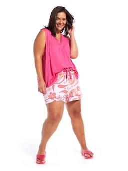 P.A. Plus Pink Paisley Long Short