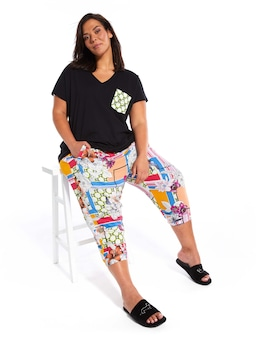 P.A. Plus Mixed Floral 3/4 Drop Crotch Pj Pant